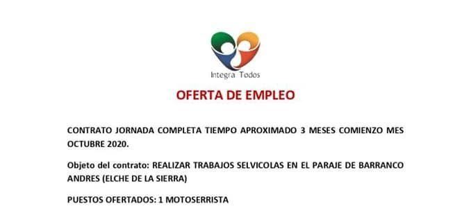 OFERTA DE EMPLEO DE MOTOSERRISTA